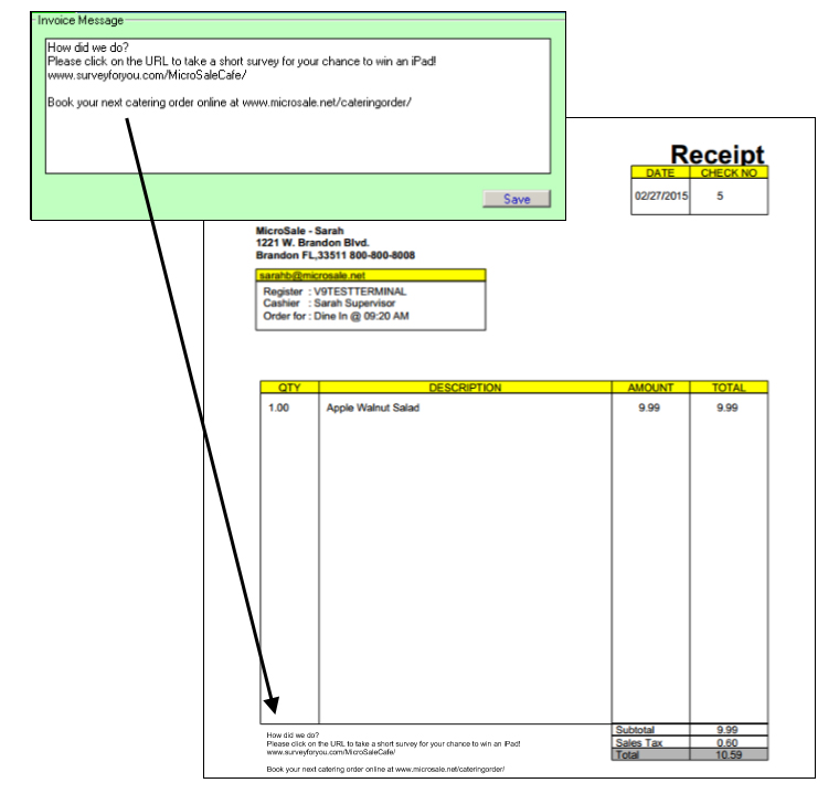 emailing customer receipts microsale